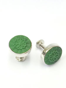 cufflinks large green flower jewellery for groom