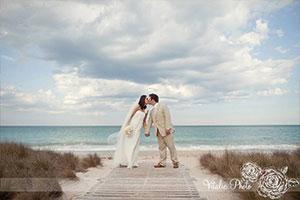 On the beach destination wedding