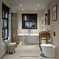 Bathroom in white and beige