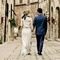 destination wedding - couple in old town