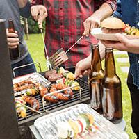 Stag and hen parties - men at a bbq