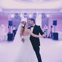 Couple dancing to wedding music