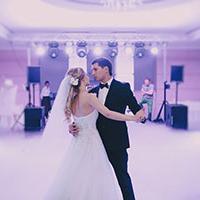 Couple dancing to wedding music